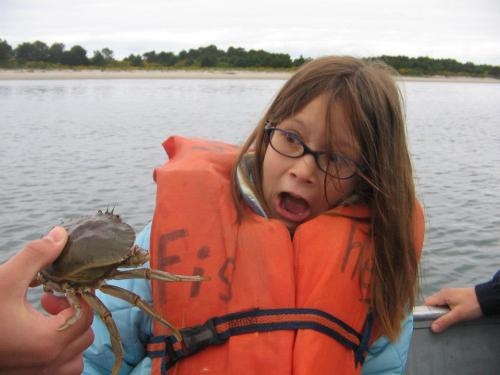 Teaching Molly the finer points of crabbing